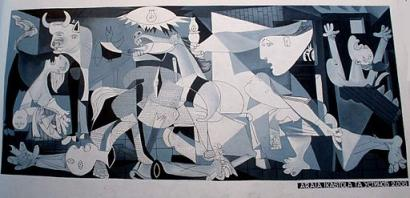 Reproduction of Guernica by Picasso, the definitive 20th century artistic statement against war and violence.