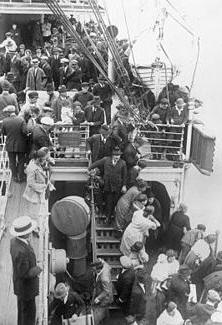 Immigrants on a ship.