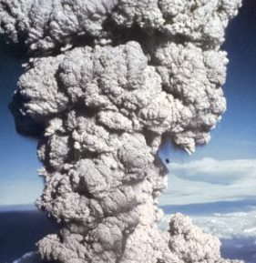 An eruption of smoke.